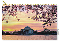 Jefferson Memorial At Sunrise With Blossoms Carry-all Pouch