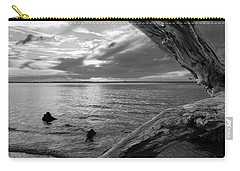 Jekyll Driftwood At Sunset In Black And White Carry-all Pouch