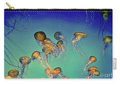 Jellyfish On Teal Carry-all Pouch by Linda Olsen