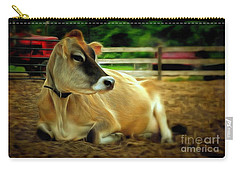 Jersey Cow - Chillaxin' On The Farm Carry-all Pouch by Janine Riley