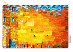Carry-all Pouch featuring the painting Jerusalem Wailing Wall Original Acrylic Palette Knife Painting by Georgeta Blanaru