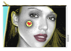Jessica Alba Pop Art, Portrait, Contemporary Art On Canvas, Famous Celebrities Carry-all Pouch by Dr Eight Love