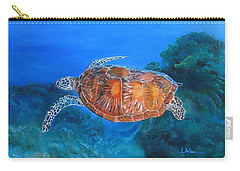 Carry-all Pouch featuring the painting Jessie's Sea Turtle by LaVonne Hand