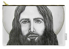 Carry-all Pouch featuring the drawing Jesus Christ by Michael  TMAD Finney