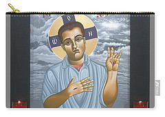 Carry-all Pouch featuring the painting Jesus Christ Morning Star With Frame 108 by William Hart McNichols