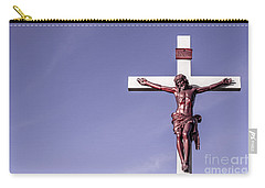 Carry-all Pouch featuring the photograph Jesus Crucifix Against The Sky by Gary Whitton