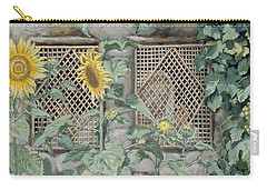 Jesus Looking Through A Lattice With Sunflowers Carry-all Pouch by Tissot