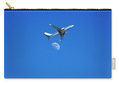 Jet Plane Flying Over The Moon Carry-all Pouch