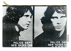 Jim Morrison Mug Shot Horizontal Carry-all Pouch by Tony Rubino