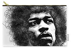 Jimi Hendrix Bw Scribbles Portrait Carry-all Pouch