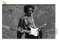 Carry-all Pouch featuring the photograph Jimi Hendrix Purple Haze B W by David Dehner