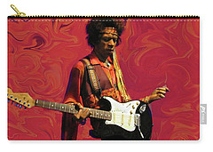 Carry-all Pouch featuring the photograph Jimi Hendrix Purple Haze Red by David Dehner