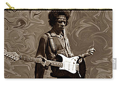 Carry-all Pouch featuring the photograph Jimi Hendrix Purple Haze Sepia by David Dehner