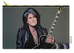 Joe Perry Of Aerosmith Painting Carry-all Pouch by Paul Meijering