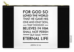 John 3-16 - Spiritual Wall Art - Bible Verses Art Carry-all Pouch