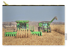 John Deere Combine Picking Corn Followed By Tractor And Grain Cart Carry-all Pouch