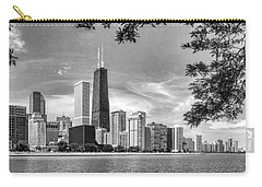 John Hancock Chicago Skyline Panorama Black And White Carry-all Pouch