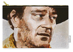 John Wayne, Vintage Hollywood Actor Carry-all Pouch by Mary Bassett