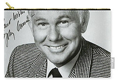 Johnny Carson Autographed Print Carry-all Pouch