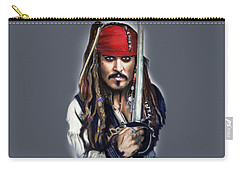 Johnny Depp As Jack Sparrow Carry-all Pouch by Melanie D
