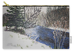 Carry-all Pouch featuring the painting Johnson Vermont In Spring Snow Storm by Donna Walsh
