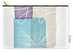 Carry-all Pouch featuring the mixed media Joy Cannabis Leaf Watercolor- Art By Linda Woods by Linda Woods