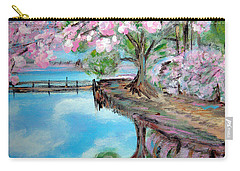 Joy Of Spring. Acrylic Painting For Sale Carry-all Pouch by Oksana Semenchenko