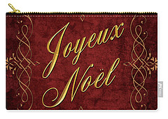 Joyeux Noel In Red And Gold Carry-all Pouch by Caitlyn  Grasso
