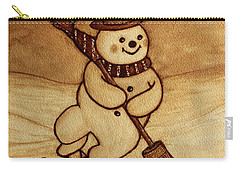 Carry-all Pouch featuring the painting Joyful Snowman  Coffee Paintings by Georgeta  Blanaru