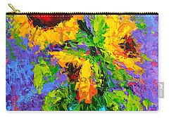 Joyful Trio - Sunflowers Still Life - Modern Impressionistic Art - Palette Knife Carry-all Pouch