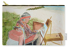 Carry-all Pouch featuring the painting Julia Painting At Boynton Inlet Beach  by Donna Walsh