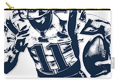 Julian Edelman New England Patriots Pixel Art 2 Carry-all Pouch by Joe Hamilton