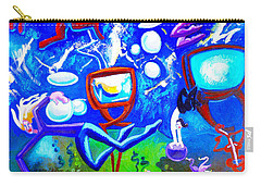 Carry-all Pouch featuring the painting Jumping Through Tv Land by Genevieve Esson