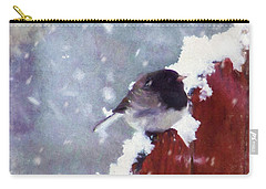 Carry-all Pouch featuring the digital art Junco In The Snow, Square by Christina Lihani