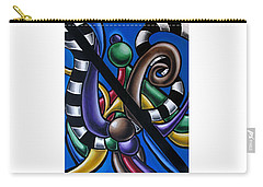 Carry-all Pouch featuring the painting Jungle Stripes 2, Colorful Chromatic Abstract Artwork by Ai P Nilson
