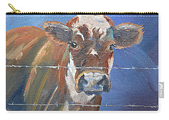 Carry-all Pouch featuring the painting Just A Big Happy Cow On A Little Square Canvas by Jan Dappen