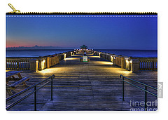 Carry-all Pouch featuring the photograph Just Before Dawn Folly Beach Pier Charleston Sc Sunrise Art by Reid Callaway