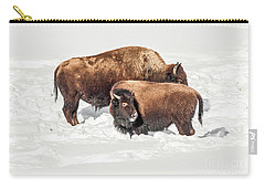 Juvenile Bison With Adult Bison Carry-all Pouch by Sue Smith