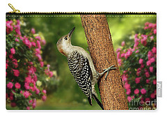 Carry-all Pouch featuring the photograph Juvenile Red Bellied Woodpecker by Darren Fisher