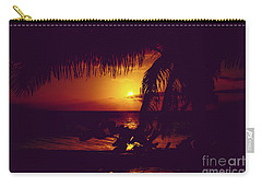 Kamaole Tropical Nights Sunset Gold Purple Palm Carry-all Pouch by Sharon Mau
