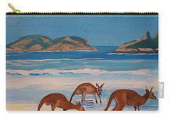 Kangaroos On The Beach Carry-all Pouch