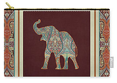 Carry-all Pouch featuring the painting Kashmir Elephants - Vintage Style Patterned Tribal Boho Chic Art by Audrey Jeanne Roberts