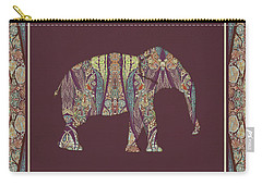 Carry-all Pouch featuring the painting Kashmir Patterned Elephant 2 - Boho Tribal Home Decor  by Audrey Jeanne Roberts