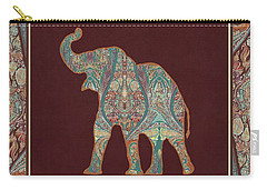 Carry-all Pouch featuring the painting Kashmir Patterned Elephant 3 - Boho Tribal Home Decor by Audrey Jeanne Roberts