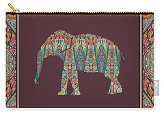 Carry-all Pouch featuring the painting Kashmir Patterned Elephant - Boho Tribal Home Decor  by Audrey Jeanne Roberts