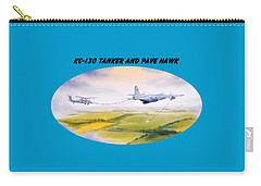 Carry-all Pouch featuring the painting Kc-130 Tanker Aircraft And Pave Hawk With Banner by Bill Holkham
