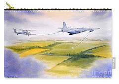 Carry-all Pouch featuring the painting Kc-130 Tanker Aircraft Refueling Pave Hawk by Bill Holkham