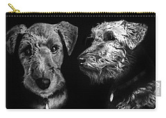 Carry-all Pouch featuring the drawing Keeper The Welsh Terrier by Peter Piatt