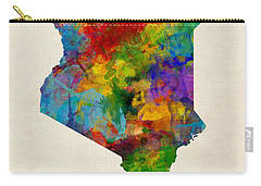 Carry-all Pouch featuring the digital art Kenya Watercolor Map by Michael Tompsett