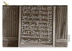Carry-all Pouch featuring the photograph Key West Depression Era Restaurant Specials by John Stephens